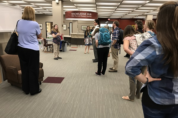 Students getting a tour of the library
