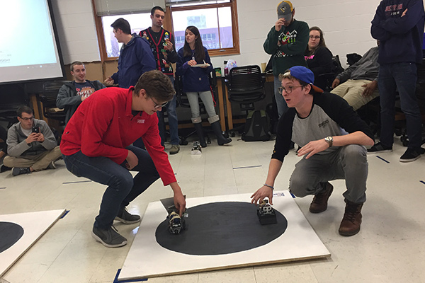 Sumo Bot competition, Department of Mechanical and Aerospace Engineering, at Kettering Labs, December 2016