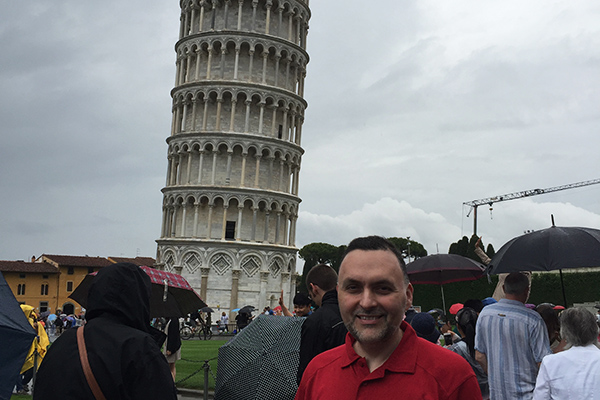 At the leaning Tower of Pisa where Dean Rojas explained its history, the engineering principles that illustrate why the structure is leaning and the repairs performed in the late 90?s. Dean Rojas also presented students with the challenge of calculating the maximum angle at which the tower can still be standing using a simplified approach.
