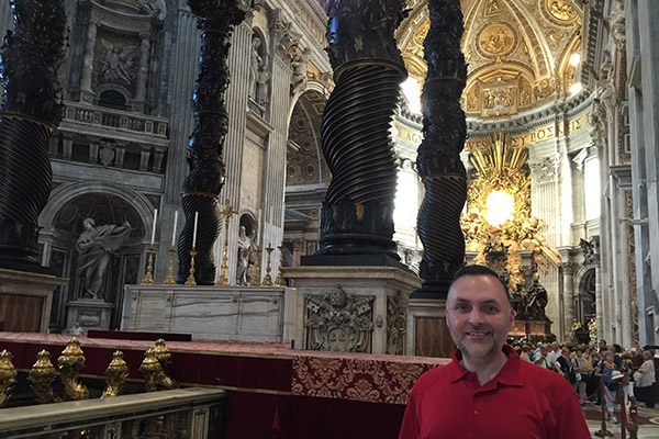 At St. Peter?s Basilica after attending mass at the Basilica and participating in a public audience with the Pope.