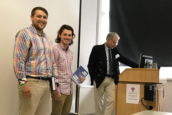 University of Dayton engineering students, Jacob Korczyk and Hunter Johnston winning Best Project Presentation for their crop duster aircraft at University of Manchester, UK.