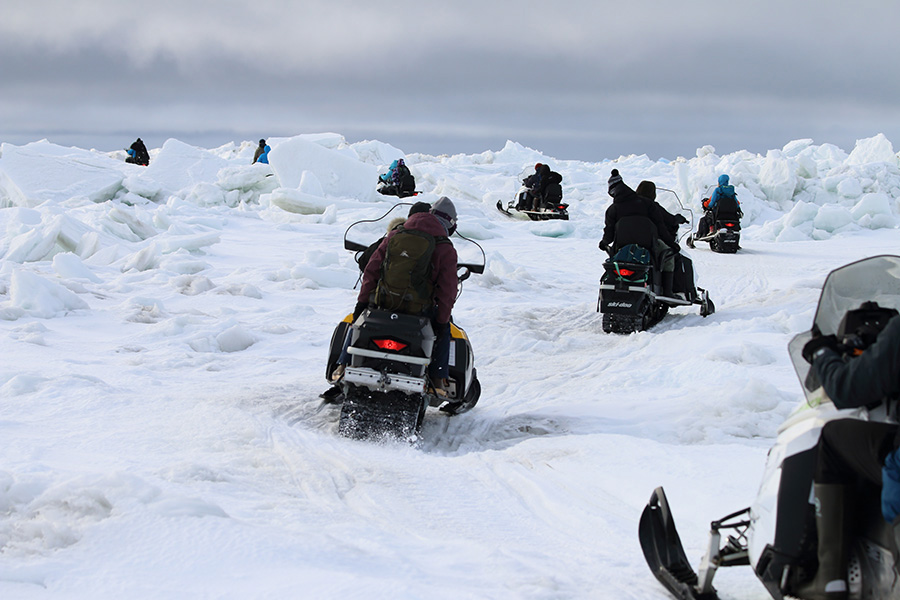 Researchers Travel by Foot or Snowmobile in the Arctic