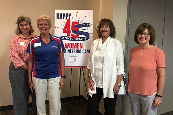 (l-r) Susan Hill, '79 CME UDRI; Teresa Smith, '81 MCT Vectren; Carol Shaw, professor emeritus, engineering technology and engineering management programs and founder of the WIE summer camp; Paige Giannetti, '78 CME Giannetti Consulting; at WIE Dinner with an Engineer