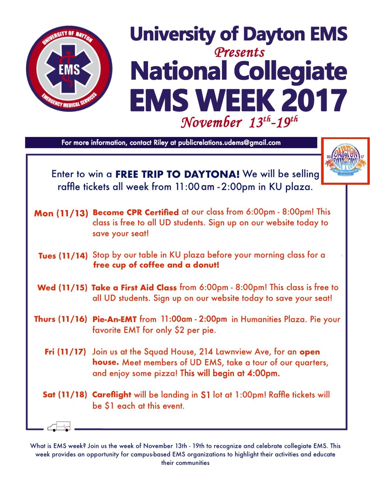 Collegiate ems week university of dayton ohio collegiate ems week 1betcityfo Choice Image