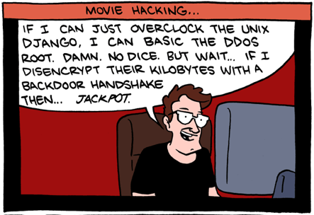Complicated hacking cartoon