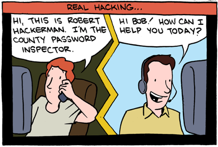 Cartoon explaining hacking is as simple as a phone call